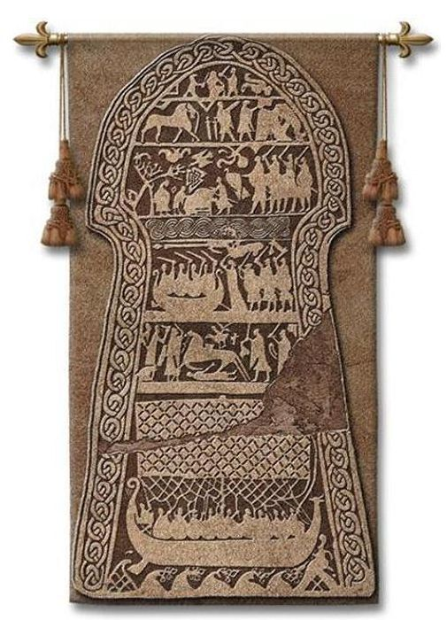 VIKING AGE IMAGE STONES ART TAPESTRY WALL HANGING 26x50