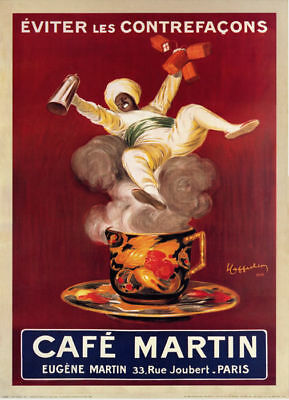- Cafe Martin (1921) French Coffee Ad Art Leonetto Cappiello Vintage-Style Poster