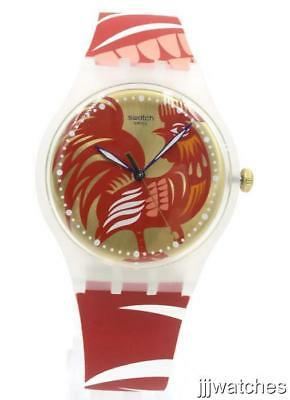 New Swatch Originals Chinese New Year ROCKING ROOSTER Watch 41mm SUOZ226 $85
