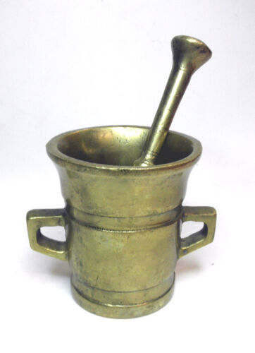 Vingage Antique Heavy Solid Brass Apothecary Mortar & Pestle Double Handle