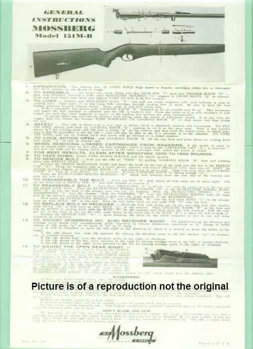 Mossberg Model 151M-B Owners Manual Reproduction