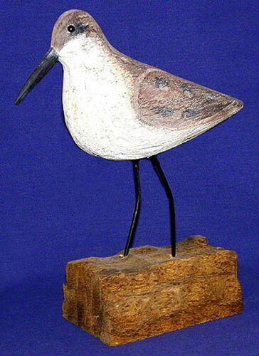 "Hand Carved Gunner Peep Sandpipper Wood Painted Shore Bird 3""X10"" Nautical Decor"