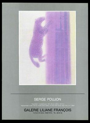 1984 Serge Poujon purple jaguar art Paris art gallery vintage print ad