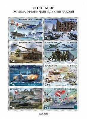 Tajikistan Military Stamps 2020 MNH WWII WW2 Allied Victory Tanks Aviation 8v MS
