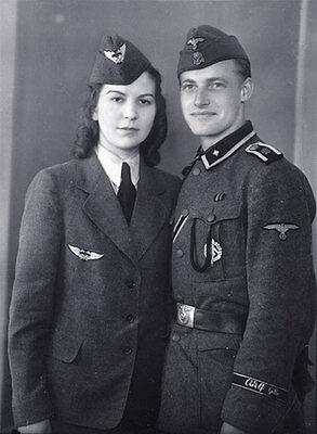 B&W Photo German Military Couple Portrait WWII WW2 World War Two Germany