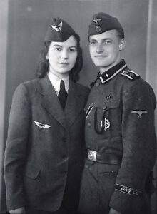 B&W Photo German Military Couple Portrait WWII WW2