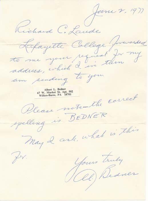 Al BEDNER / Autograph Note Signed