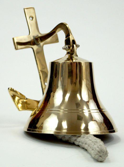"""NAUTICAL Marine NAVIGATION 6"""" Solid Brass SHIP BELL with ANCHOR BRACKET New"""