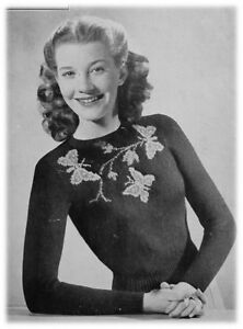 Ladies' 1940s 2 Ply Butterfly Jumper Knitting Pattern 10034