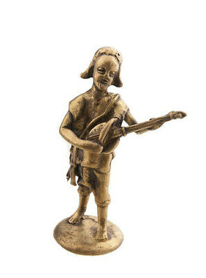 Statue Musician Brass Player of Kora Art and Bronze African AA794