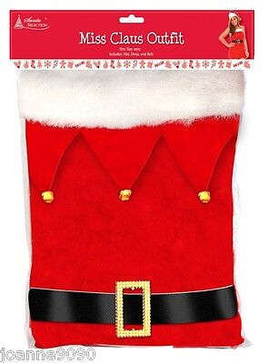 Santa Claus And Miss Claus (LADIES SEXY MISS SANTA CLAUS CHRISTMAS FANCY DRESS COSTUME HAT AND BELT 10 -)