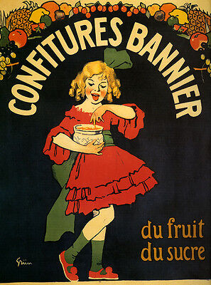 Girl Red Dress Candy Fruits Jelly Ad French Vintage Poster Reproduction Free S/h