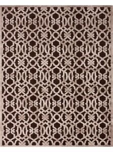 SAPHIR ZAM Silk area rug chocolate brown taupe grey 8' x 11'