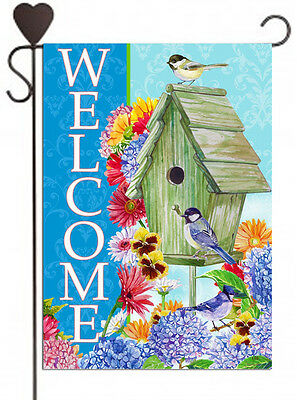 Welcome Birdhouse -SALE- Garden Flag house banner bird feeder flowers daisies