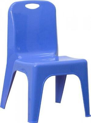 Flash Furniture Blue Plastic Stackable School Chair With Carrying Handle And 11