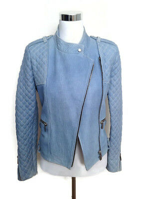 Barbara Bui Leather Jacket 40 Quilted Denim Illusion Blue Moto Biker Women's