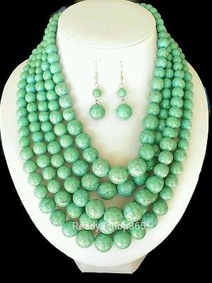 Turquoise Bead Necklace Multi Layered Chunky Long Strand Earrings Set Silver New Chunky Bead Necklace Earrings