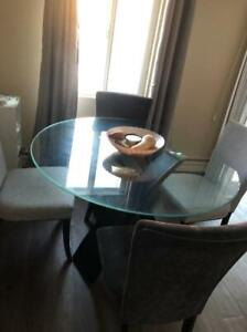 NEED GONE Large Glass Top Dinette + Four Chairs