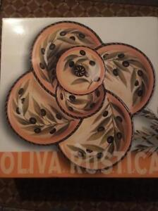 *BRAND NEW NEVER USED. PLATTER STYLE, HAND PAINTED OLIVA RUSTICA