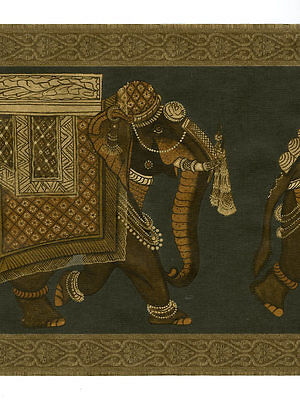 Black And Gold Border (RAYMOND WAITES BLACK AND GOLD ELEPHANTS WALLPAPER)