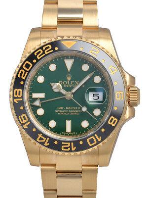 Rolex GMT-Master II 116718 Yellow Gold Ceramic Bezel Green Dial 40mm Watch