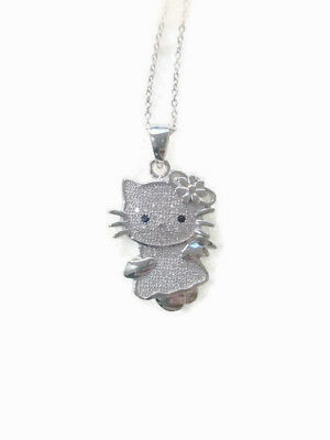 Hello Kitty Cat micro-pave cz Womens Sterling Silver Pendant with 18