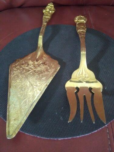 LARGE Vintage Engraved Brass Cake/Pie Server & Serving Fork Set ITALY