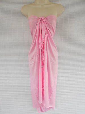 Pareo Sarong Bikini Cover Up Scarf Beach Luau Solid Color One Size Dress Pink