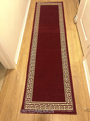 2x8 Läufer Teppich (2x8  Runner Rug Modern Greek Key Design Hallway Solid Burgundy Size 2'x7'2