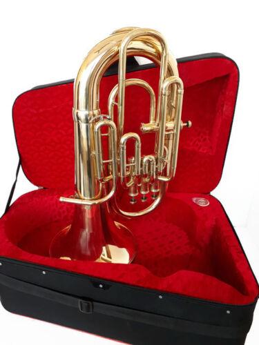 WOW EXQUISITE!!! New Brass-Finish 4 Valve Bb/F Euphonium Free Case+M/P+FREE SHIP