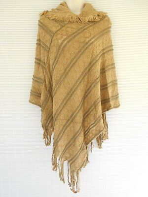 Soft Chain Knit Pattern Hood Poncho Wrap Cape Sweater Coat Shawl One Size Brown