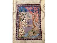 Fine Pictorial Traditional hand Made Persian Oriental Rug -******** Wool- Silk Cream*********