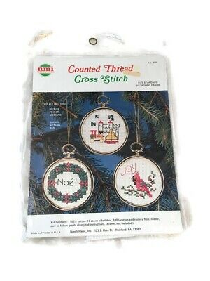 Cute Craft Ideas (Counted Cross Stitch Kit 3 Ornaments Christmas Noel Joy Cute Craft Gift Idea)