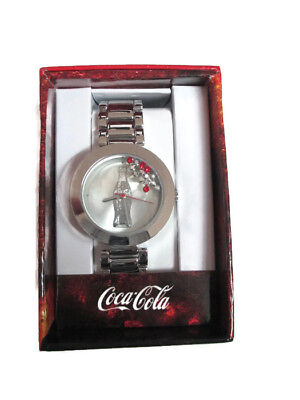 Coca-Cola Accutime Floating Crystal Contour Bottle Watch 38 mm  Silver-tone
