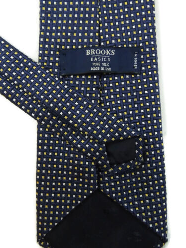 Brooks Brothers Basics Blue Yellow Checked Mens Thick Woven Silk Neck Tie