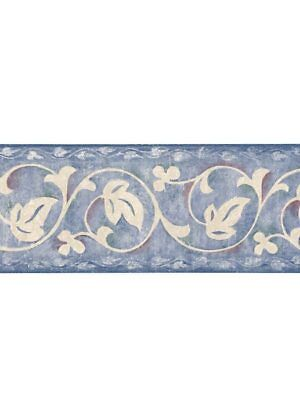 - WHITE LEAF SCROLL ON BLUE FAUX LOOK WALLPAPER BORDER