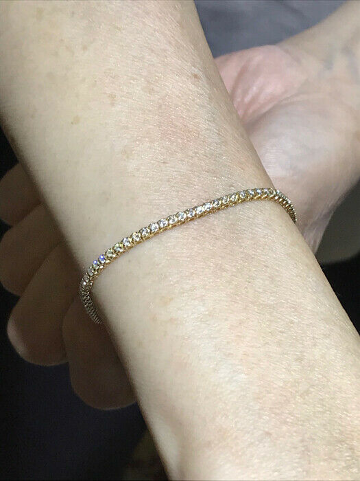1.00 Carat Natural Diamond Tennis Bracelet G SI 14K Yellow Gold 7'' 92 stones 3