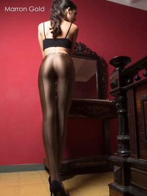 Cecilia de Rafael UPPSALA Shiny 150 Denier Opaque Pantyhose Tights Gold Sz L