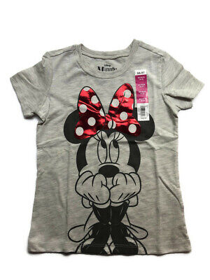 Disney Girls Minnie Mouse Short Sleeve Graphic T-Shirt Tee Shirt - Grey -