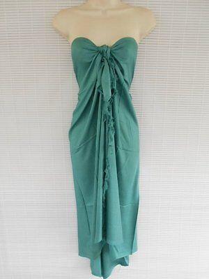 Pareo One Size Bikini Cover Up Scarf Beach Luau Solid Color Dress Teal Green