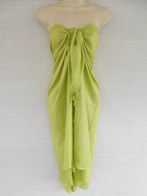 Handmade Pareo Sarong Bikini Cover Up Beach Luau Solid Color Dress Lime Green
