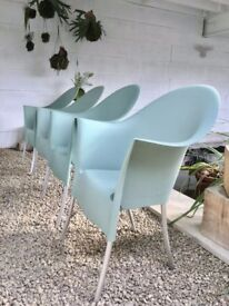 Philippe Starck 'Lord Yo' Chair - Driade - Blue - Stackable + Cafe/Bistro Table