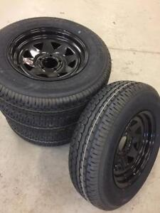 4 New (ST205/75R15) Tires and Black Rims