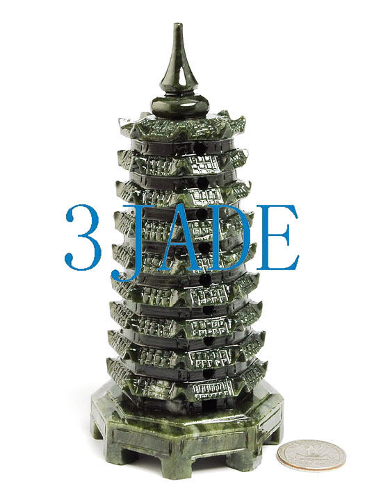 Hand Carved Natural Green Jade / Serpentine Pagoda Chinese Feng Shui Landscape
