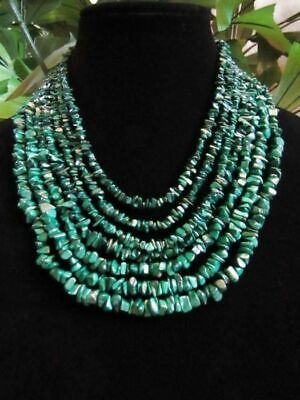 Designer Malachite Necklace (Substantial Designer Jay King Heavy 7 Strand Malachite Necklace Sterling)