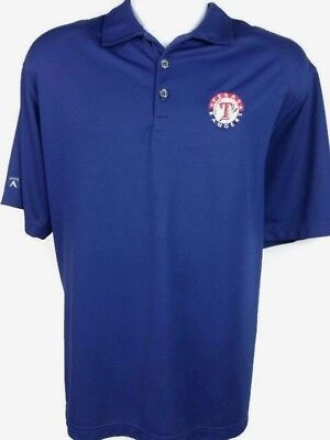 finest selection 8984e 7ad3b MLB Texas Rangers Baseball Antigua Royal Blue Polo Golf Shirt Medium
