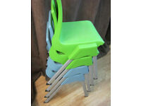 Childrens Chair Stackable x 2 Blue x 2 Green