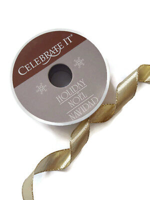 (New Gold Metallic Wired Edge Ribbon 5/8 in by 3 Yards Two-Sided Roll x Christmas)