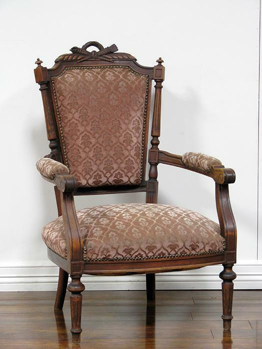 Single Antique French Louis XVI Style Arm Chair In Walnut