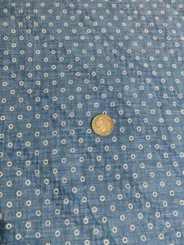 "Antique Fabric 19thc Indigo Blue Circles Prim Calico Quilt Doll 25.5""x12"" 2 aval"